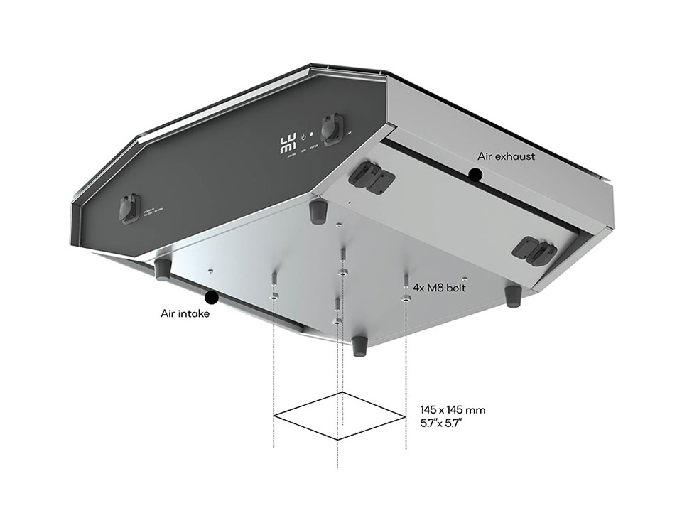 LAZR4G Outdoor Video Mapping Projector - Bottom View with Attachment Dimensions